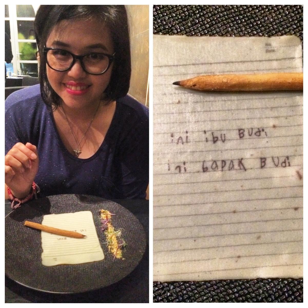 Makan Pensil dan Kertas di Namaaz Dining